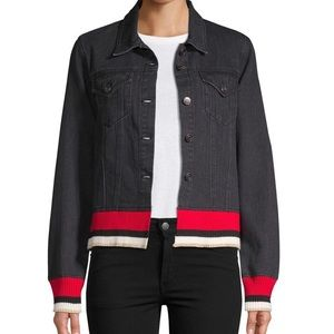 Design lab denim jacket with red and gold cuff